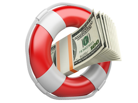 credit union: Life buoy with dollars. 3d illustration isolated on a white background
