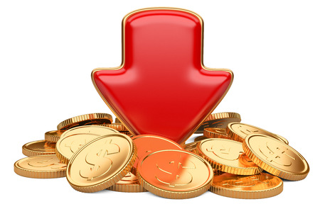 red arrow down and golden coins, business concept isolated on a white background photo