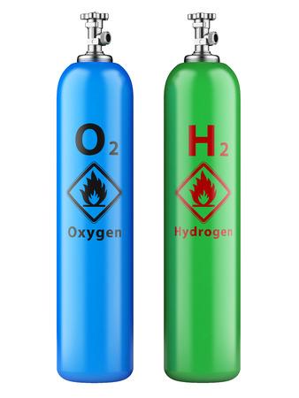 Wasserstoff-und Sauerstoffflaschen mit Druckgas auf einem weißen Hintergrund Standard-Bild