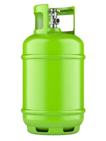propane tank: Green propane cylinders with compressed gas isolated on a white background Stock Photo