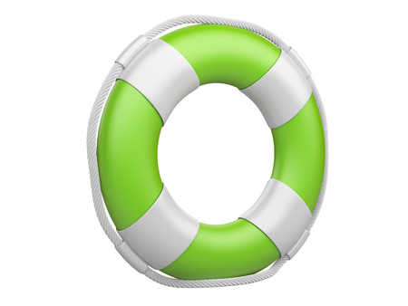 3d life buoy isolated on a white background photo