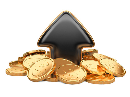 increment: Black arrow upward and golden coins, business concept isolated on a white background Stock Photo