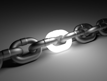 group chain: Chain link isolated on white background. Leadership concept 3D illustration.