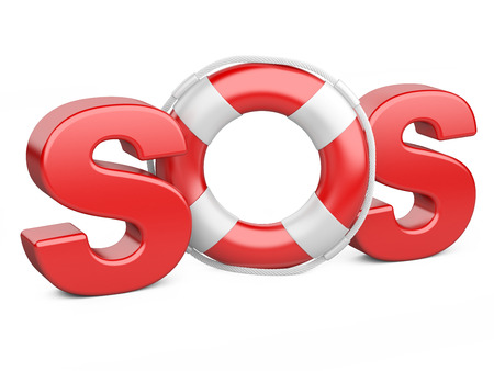 sos: SOS symbol with lifebelt isolated on a white background. Stock Photo