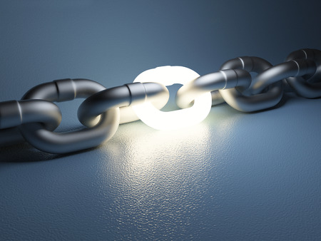 Chain link isolated on white background. Leadership concept 3D illustration.