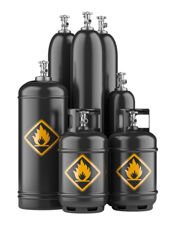black cylinders with compressed gas isolated on a white background Stock Photo