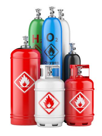 Propanflaschen mit Druckgas auf einem weißen Hintergrund