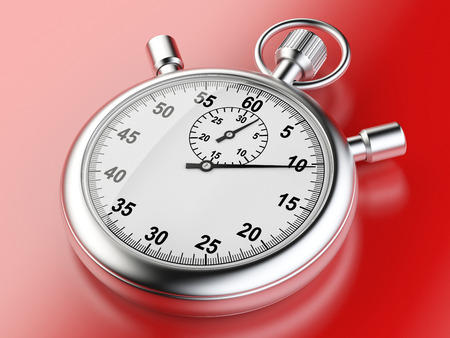 Stopwatch on a red background - time concept isolated on a white background. 3d illustration high resolution illustration