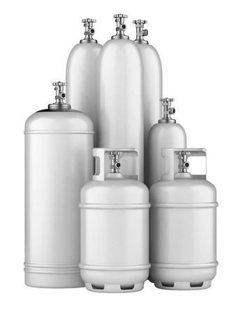 propaan cilinders met samengeperst gas die op een witte achtergrond