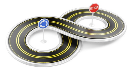 infinity road: Road in the shape of infinity. 3d illustration isolated on a white background.
