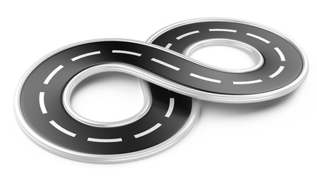 infinity sign: Road in the shape of infinity. 3d illustration isolated on a white . Stock Photo