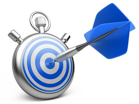 marketingstrategie concept. dart raken het midden van een doel met stopwatch. 3D-afbeelding op een witte Stockfoto