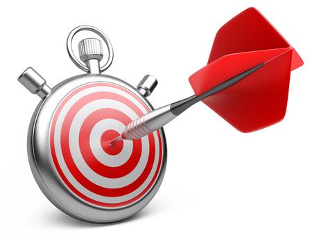 competitividad: estrategia de marketing concepto. Dart golpear el centro de una diana con el cronómetro. 3d ilustración sobre un fondo blanco