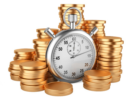 timescale: stopwatch and coins - time is money concept. 3d image isolated on a white