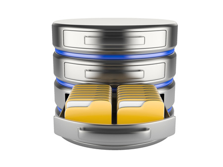 protected database: database storage concept on servers in cloud. 3D image isolated on white