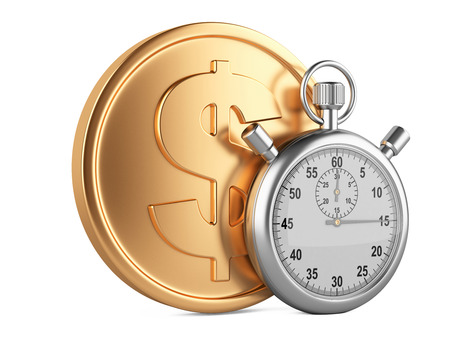 timescale: stopwatch and coin - time is money concept. 3d image isolated on a white
