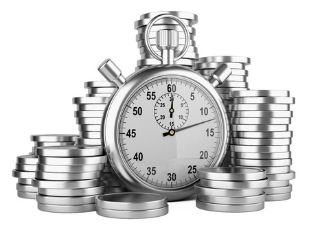 time account: stopwatch and coins - time is money concept. 3d image isolated on a white