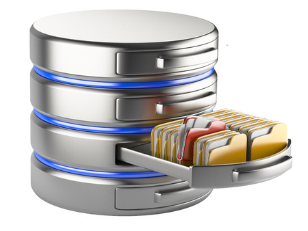 database storage concept on servers in cloud. 3D image isolated on white