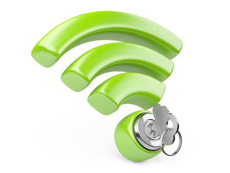 wifi sign: WiFi internet  security concept. 3d symbol wifi and the key isolated on a white