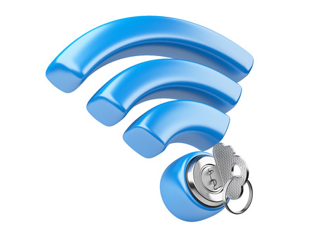 WiFi internet  security concept. 3d symbol wifi and the key isolated on a white Stock fotó - 30031706