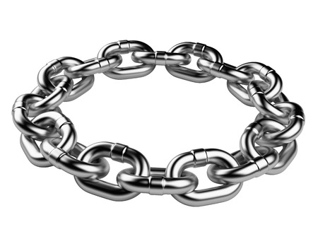 metal chain circle. teamwork concept 3d illustration isolated on a white background