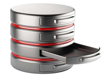 dir: empty database on servers in cloud. 3D image isolated on white