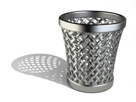 wastepaper basket: Metallic cestino vuoto isolato su uno sfondo bianco. 3d rendering illustrazione