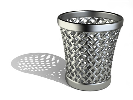 wastepaper basket: Metallic wastepaper basket empty isolated on a white background. 3d rendering illustration