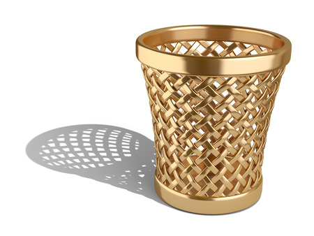 wastepaper basket: Gold wastepaper basket empty isolated on a white background. 3d rendering illustration