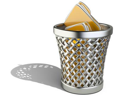 wastepaper basket: Cestino per la carta con le cartelle isolato su sfondo bianco. 3d rendering illustrazione