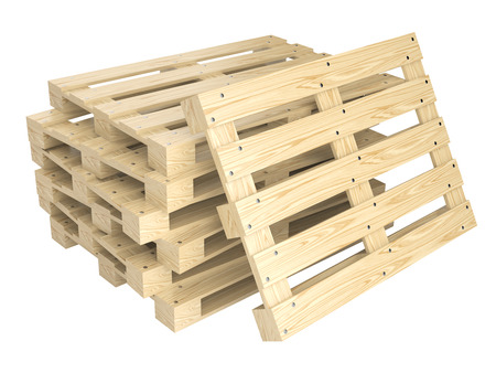timbered: Stack of wooden pallets isolated on white background. 3d illustration Stock Photo