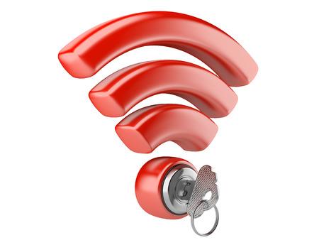 WiFi internet security concept. 3d symbool wifi en de sleutel geïsoleerd op een witte