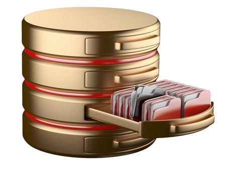Concepto de almacenamiento de base de datos en servidores en nube. Imagen 3D aislado en blanco Foto de archivo - 30534153