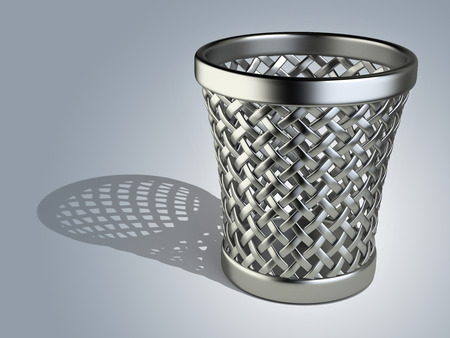 wastepaper basket: Metallic wastepaper basket empty on a dark background. 3d rendering illustration