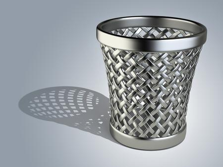 wastepaper basket: Metallic wastepaper cesto vuoto su uno sfondo scuro. Illustrazione di rendering 3D