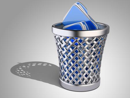 wastepaper basket: Cestino per la carta con le cartelle su uno sfondo scuro. Illustrazione di rendering 3D Archivio Fotografico