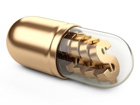 Teken van de dollar in de geneeskunde capsule 3d. Stijgende kosten van de Health-Care Concept