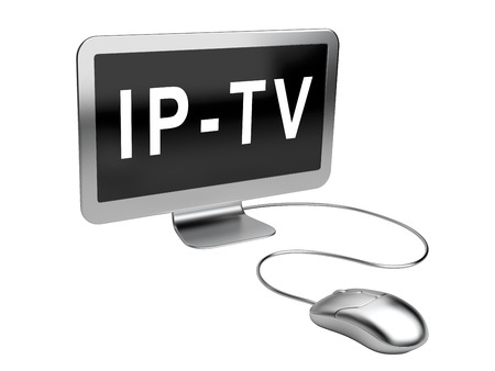 multicast: Monitor with  text - IPTV - and mouse. 3d image on a white