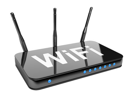 Wi-Fi Router. Isolated on a white background 3d image