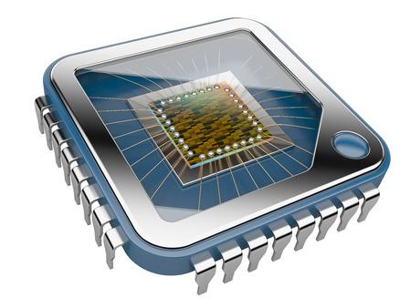 Chip de ordenador CPU. Ilustración 3d aislado en un fondo blanco