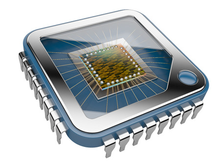 CPU Computer chip. 3d illustration isolated on  a white background