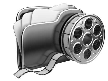 video film: Video folder with a film reel. 3D illustration isolated on white background