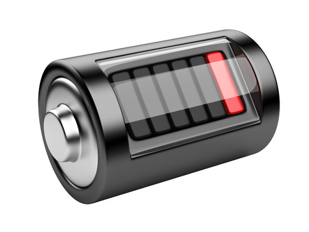 alkaline: Empty battery with charge level. 3d illustration isolated on a white background