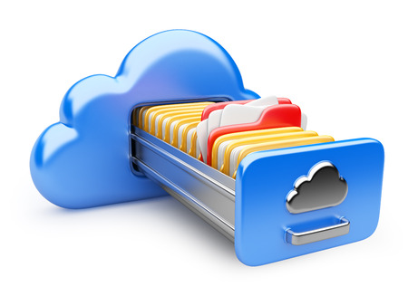 opslag van gegevens op servers in de cloud. 3D-beeld op wit wordt geïsoleerd Stockfoto