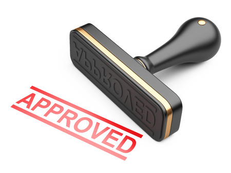 Black approved stamp with red text. 3d illustration on a white background.