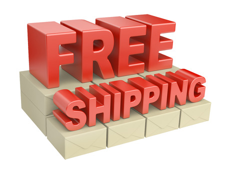free shipping: 3D free shipping text and cardboard boxes on pallet. image isolated on a white background Stock Photo