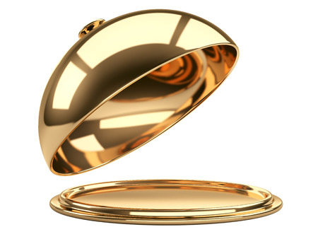 serving tray: Gold restaurant cloche with open lid. 3d illustration Stock Photo