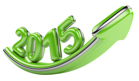 upturn: 3D arrow with year 2015 growth upward, isolated on a white background