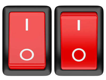 on off button: Switch on. 3d illustration isolated on a white background
