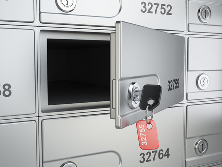 safety deposit box: Open safe bank cell and key to the safe. 3d illustration high resolution